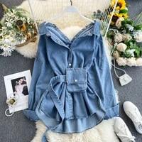 new korean new turn down collar long sleeve denim blouse solid color loose shirts vintage fashion streetwear blusas 2020