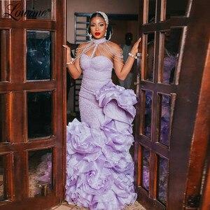 Lowime Plus Size Purple Pageant Dresses Evening Gown Mermaid Beading Tassel Special Design Dubai Arabic Party Dress Prom Dresses