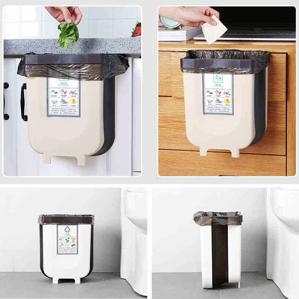 Cubo de basura Universal para coche, cubo de basura de plástico plegable, cubo de basura colgante, cubo de basura para asiento trasero de coche, gabinete de cocina