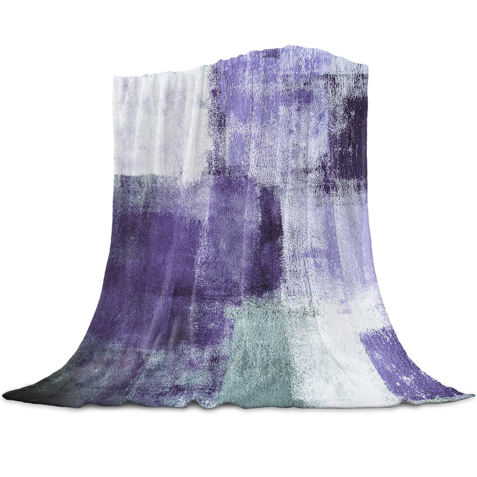 النفط اللوحة مجردة هندسية الأرجواني رمي بطانية للأسرة ستوكات الفانيلا بطانية دافئة أريكة الفراش المفرش الهدايا