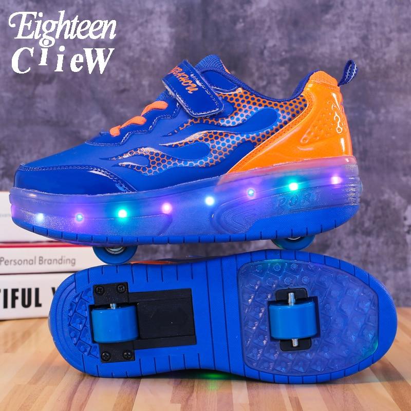 Zapatos recién llegados con ruedas para niños, zapatillas luminosas con ruedas, ligeras,...