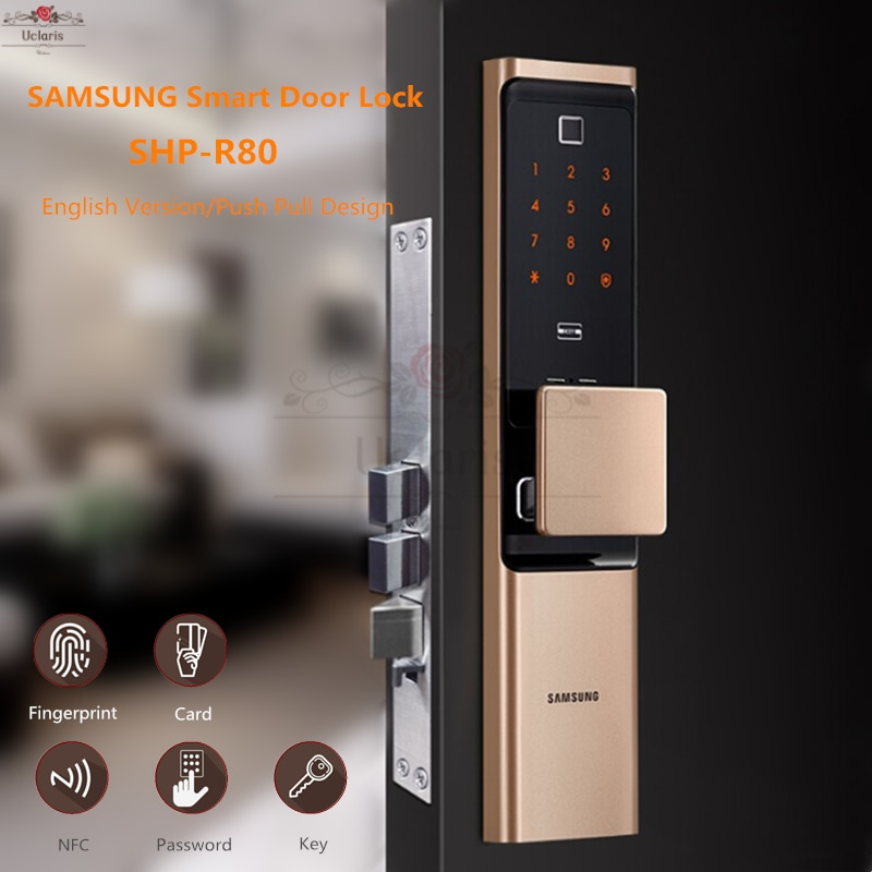 Review SAMSUNG Smart Fingerprint Digital Doorlock SHP-R80 Security Automatic Electronic Home Lock With Password,Card,Key,Phone NFC