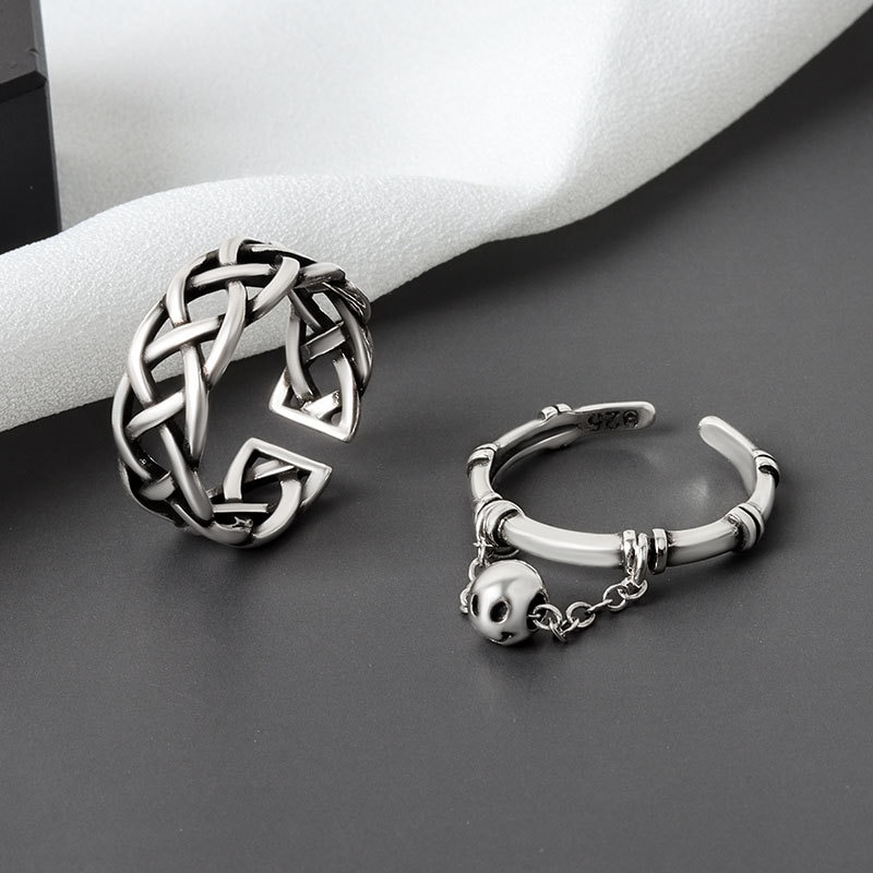 925-sterling-silver-vintage-rings-creative-weave-tassel-round-ball-geometric-ring-for-women-party-jewelry-accessories-jz226