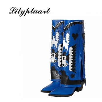 Real Leather Ethnic Totem Embroider Women Cowboy Mid Calf Boots Turned-over Edge Pointed Toe High Heels Lady Long Boots