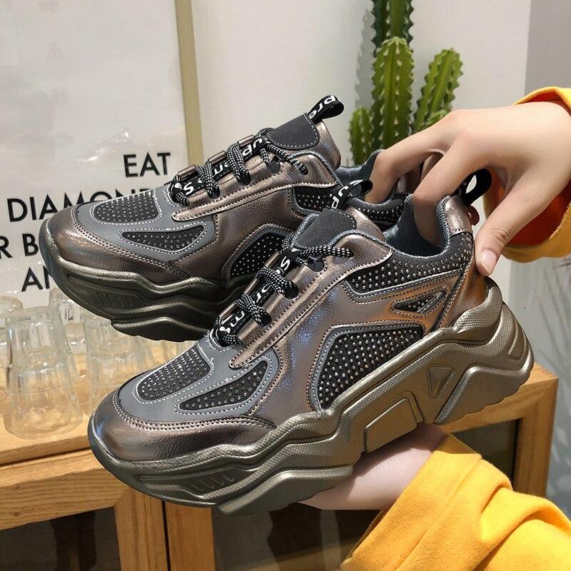 Zapatillas de deporte de plataforma para mujer de invierno 2019, zapatos casuales, canasta de lujo de cristal negro para mujer, zapatos vulcanizados de moda deportiva para mujer