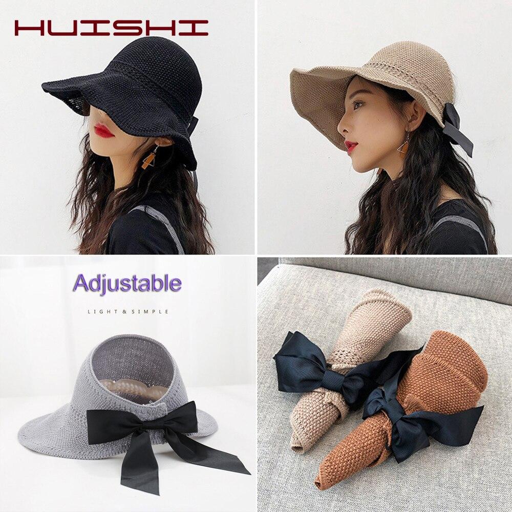 Sombrero de verano para mujer HUISHI, sombrero de paja con tapa abierta plegable para mujer, lazo en la espalda, visera de ala ancha ajustable, gorra de playa, caqui, azul