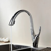 copper pull out kitchen faucet hot and cold dish basin sink faucet shower double outlet rotatable faucet
