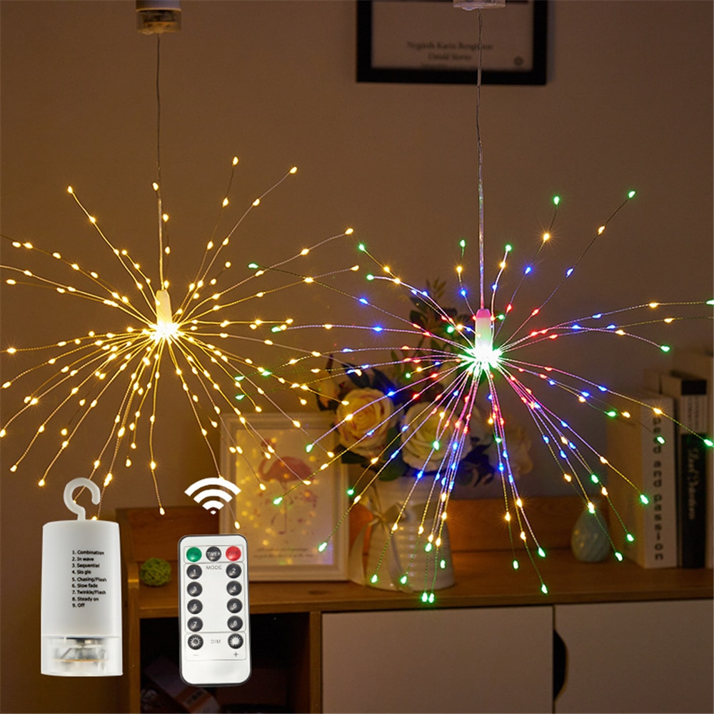 Christmas Ornaments 180 LED Firework String Lights 8 Mode Remote Explosion Star Copper Silver Wire Fairy Light Decoration Lamp