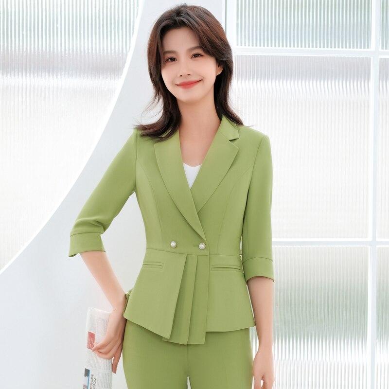 الجدة الأخضر الرسمي المرأة بدلة عمل نصف كم الربيع الصيف مكتب العمل ارتداء OL أنماط بلازير مقابلة الوظيفي وظيفة مجموعة