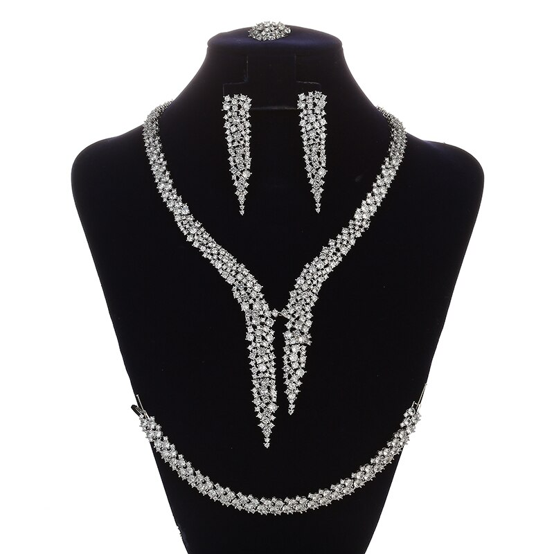 HADIYANA-طقم مجوهرات رائع على شكل نبات للنساء ، عقد زفاف ، أقراط ، خاتم وسوار ، CNY0131