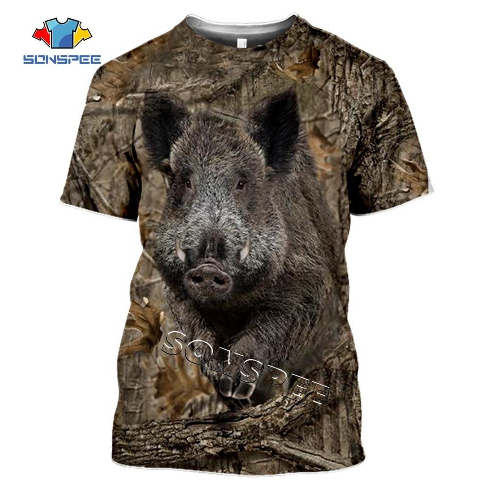 AliExpress - SONSPEE Camo Hunting Animals Wild Boar 3D T-shirt Summer Casual Men t shirts Fashion Streetwear Women Hiphop Short Sleeve Tops