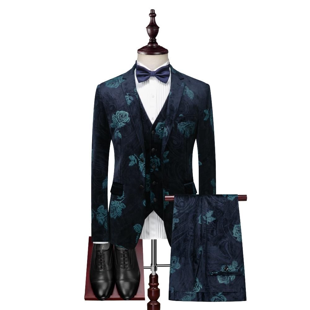 (Куртки + жилет + брюки) 2021 мужские весенние деловые блейзеры с принтом/мужской облегающий повседневный костюм из двух предметов свадебное п...
