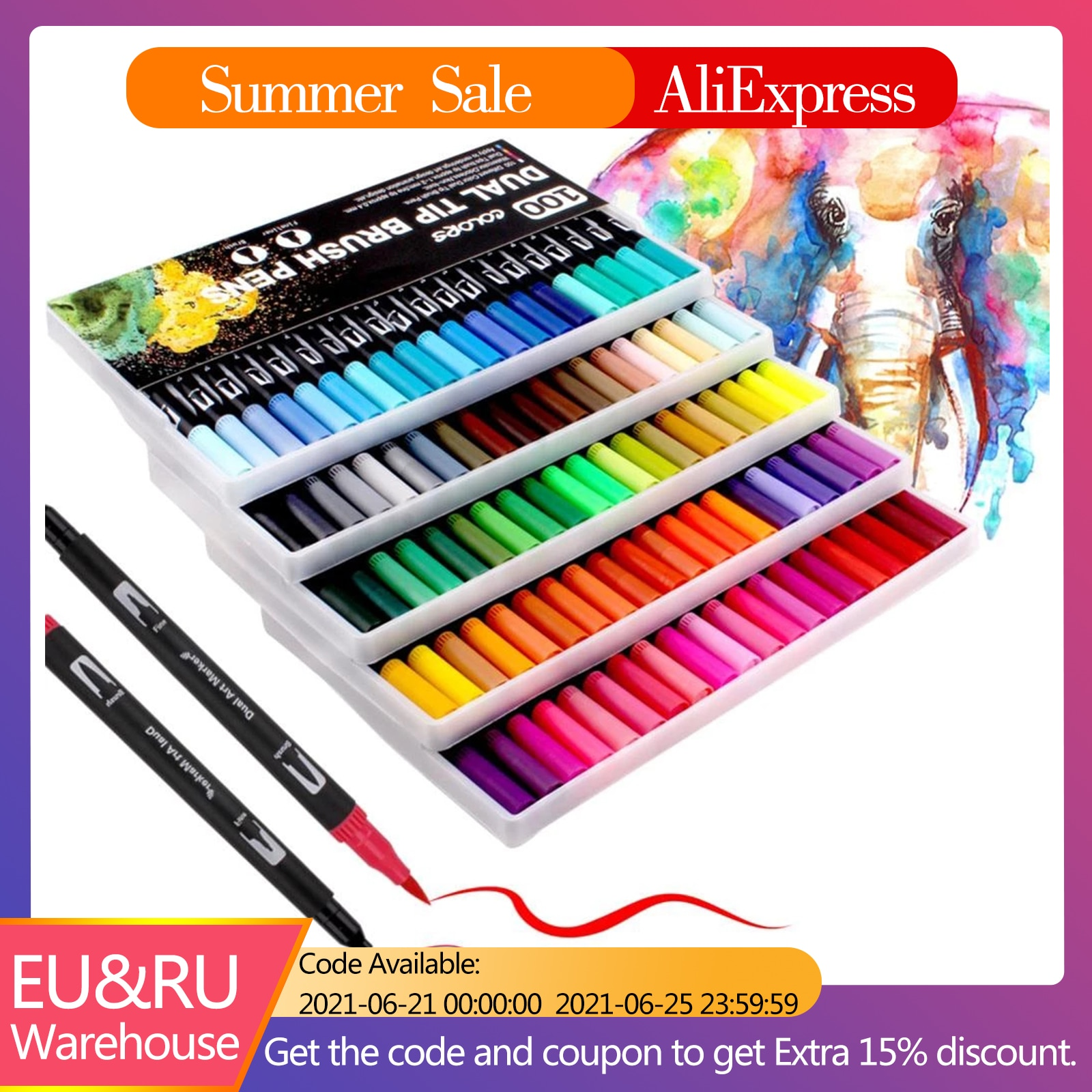 AliExpress - Dual Tip Brush Pens UP to 120 Colours Fineliner Felt Tip Pens Colouring Pens for Adults Pack,Drawing,Calligraphy Painting