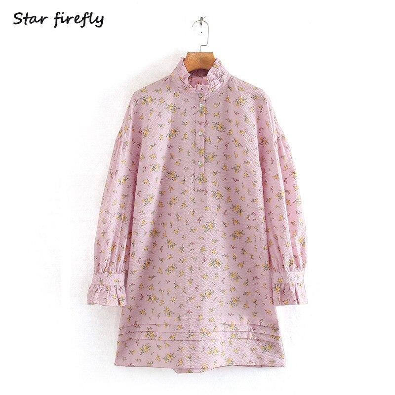 Star firefly fashion Za dress female 2020 spring new elegant sweet collar printed shirt mini dress women