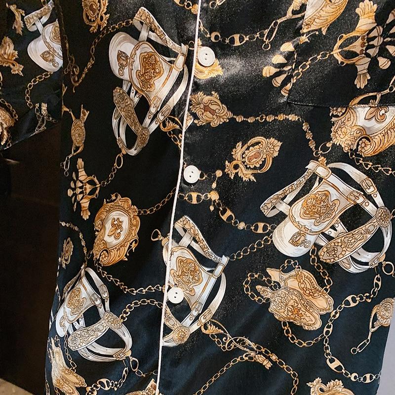 Весна шелк пижама комплект мужчины пижамы атлас пижамы осень дом костюм с принтом гостиная брюки ночная рубашка сон одежда плюс размер XXXL