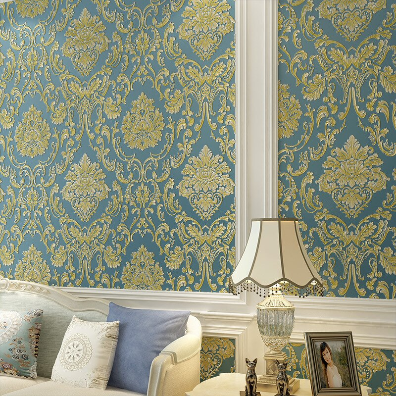 Europea 3D papel pintado dormitorio bien en relieve Damasco tela no tejida FONDO DE TV papel tapiz viviendo papel tapiz para habitación W77