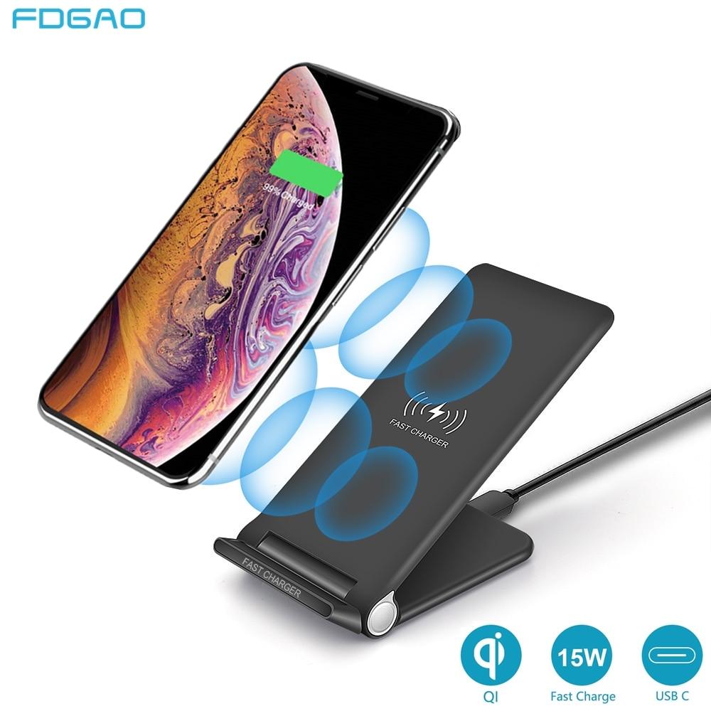 FDGAO soporte de carga inalámbrica plegable Qi 15W para iPhone 11 Pro XR X XS 8 Samsung S10 S20 USB C Qucik Pad de carga