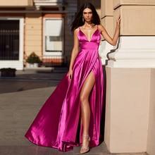 Sexy Deep V-Neck Spaghetii Straps  Satin Evenging Dress 2021 Fashion Side Slit Zippe Back Court Trai