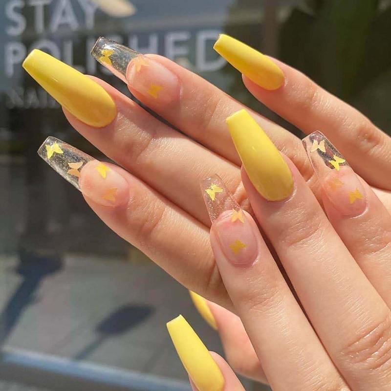 24 uds, uñas falsas de bailarina, uñas hot girl europeas y americanas, color amarillo limón, mariposa, ataúd, molde de extensión para uñas