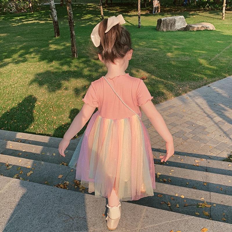 ¡Novedad de 2020! Vestido de gasa de verano para niñas, vestidos esponjosos de estilo extranjero de princesita, vestido para niñas pequeñas de arco iris