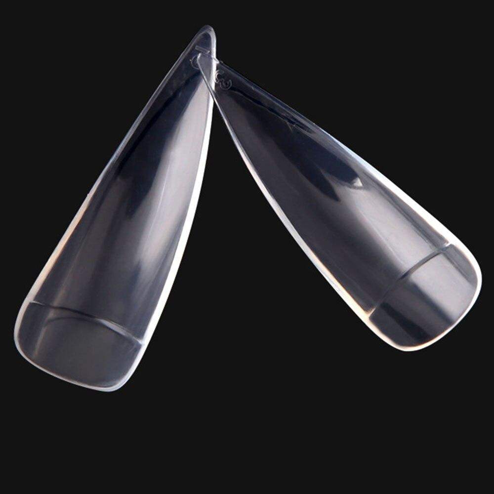 Купить с кэшбэком 600Pcs/Bag Half Cover Nail Tips Natural/Clear Sharp Nails False Nails Acrylic ABS Long Stilettos Artificial UV Gel Fake Nails #F