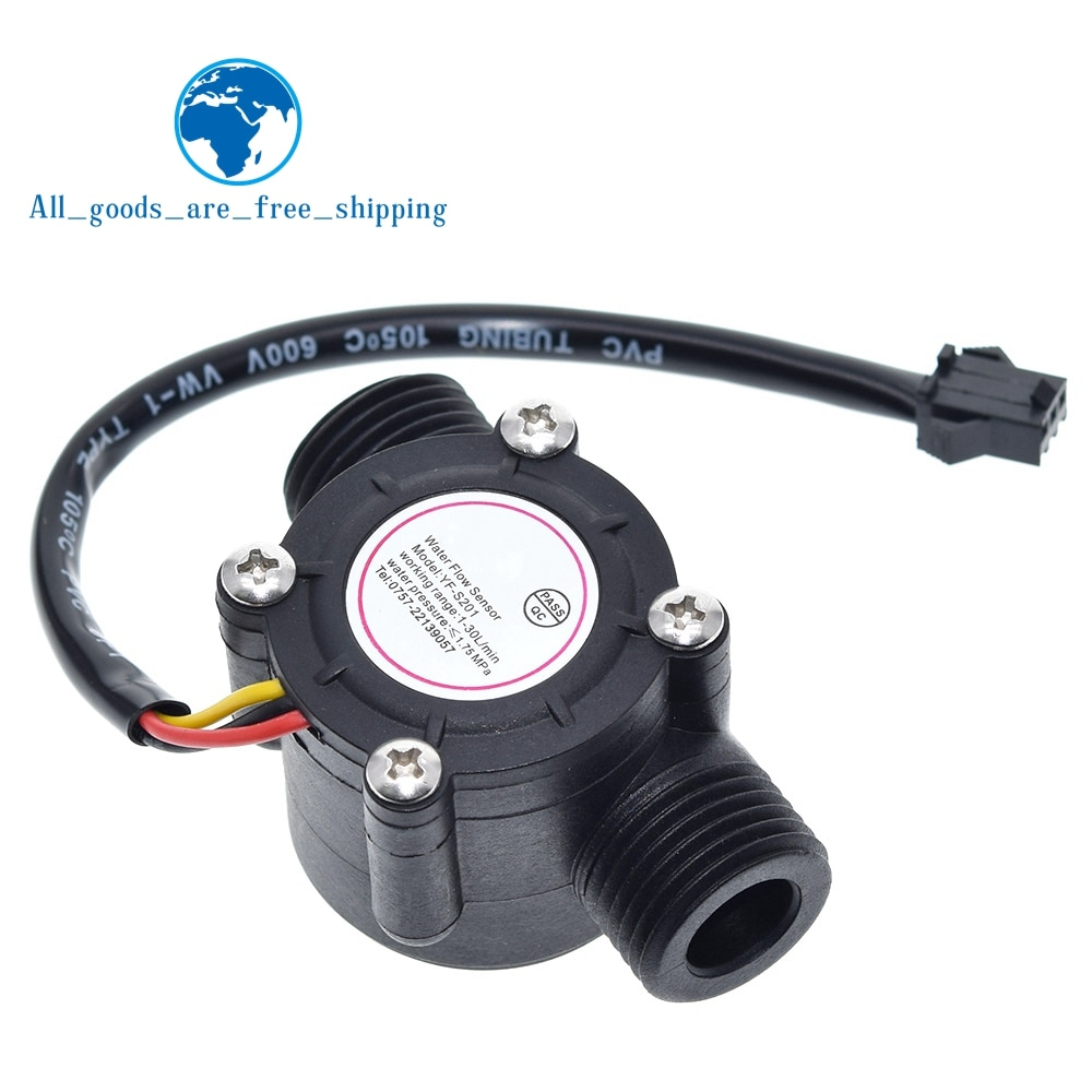 Controle de água 1-30l/min 2.0mpa YF-S201 do sensor de fluxo do salão do medidor de fluxo da água de tzt