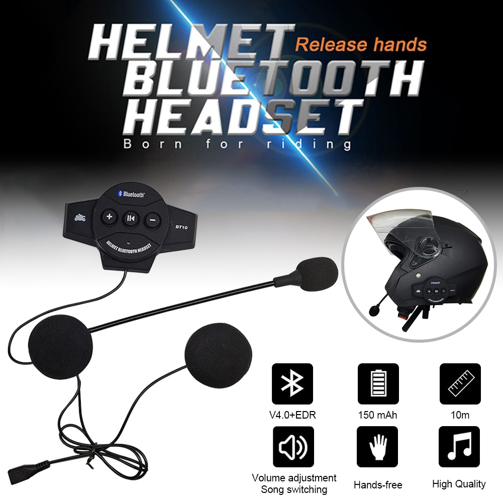 Motorcycle Helmet Bluetooth Headset 32Hrs Music Time Sports Riding Earphone Auto Answering with Mic