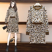 2021 fall new fashion slim fit round neck leopard print hollow long sleeved pullover knit skirt western style l 4xl