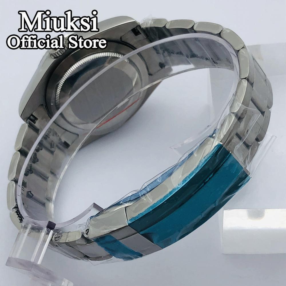 Miuksi 40mm sapphire glass silver case fit NH35 NH36 ETA 2836 Miyota 8205 8215 821A Mingzhu DG 2813 3804 Seagull ST1612 movement enlarge