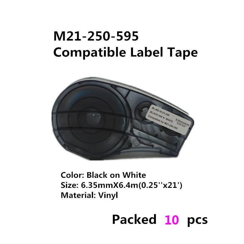 10 قطعة أسود على اللون استبدال الفينيل شريط ملصقات M21-250-595 إلى M21-750-595 متوافق ل Brady BMP21 زائد BMP21 مختبر الطابعات