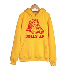 Jolly Af Womens Winter Clothing Ulzzang Hoodie Ladies Sweatshirts Santa Printing Long Sleeve Fashion Crewneck Pullovers Dropship
