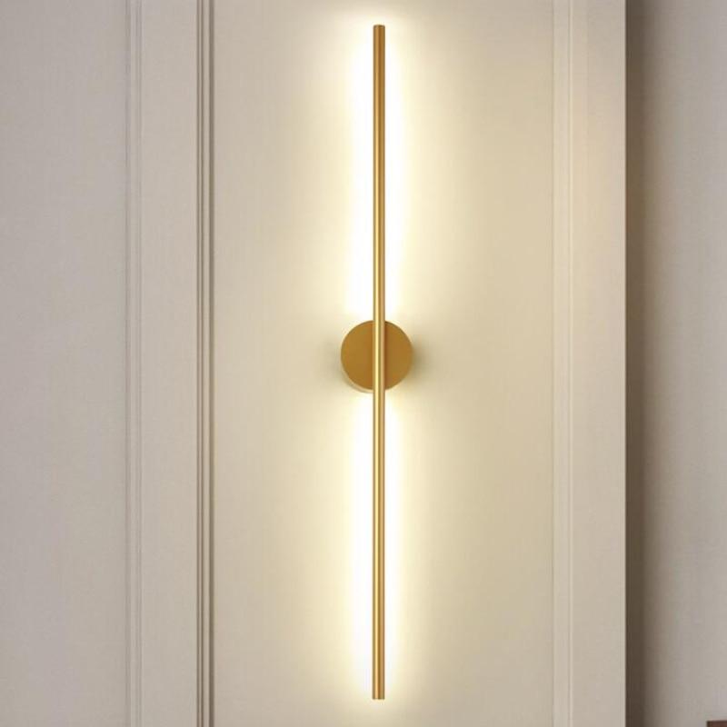 الحديثة بسيطة الخطي أنبوب LED الجدار مصباح حتى أسفل الخلفية مقابل مصباح جداري LED السرير بهو الممر الذهب الأسود LED الشمعدان