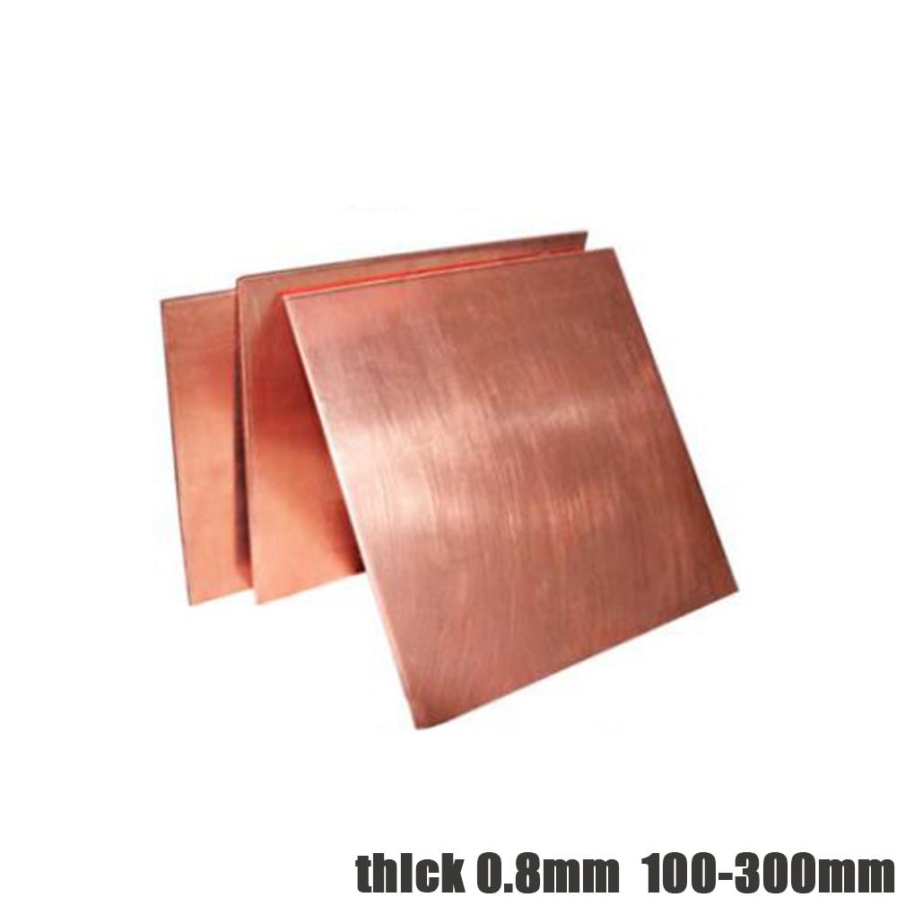 T2 condutora placa de cobre 0.8mm grosso 100mm-300mm vermelho cobre quadrado massa placa de cobre puro diy cobre folha bloco de cobre