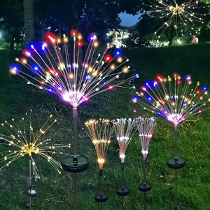 Solar Firework Lights Outdoor Waterproof Powered Fireworks Trees for Walkway Patio Lawn Backyard,Christmas Party Decor
