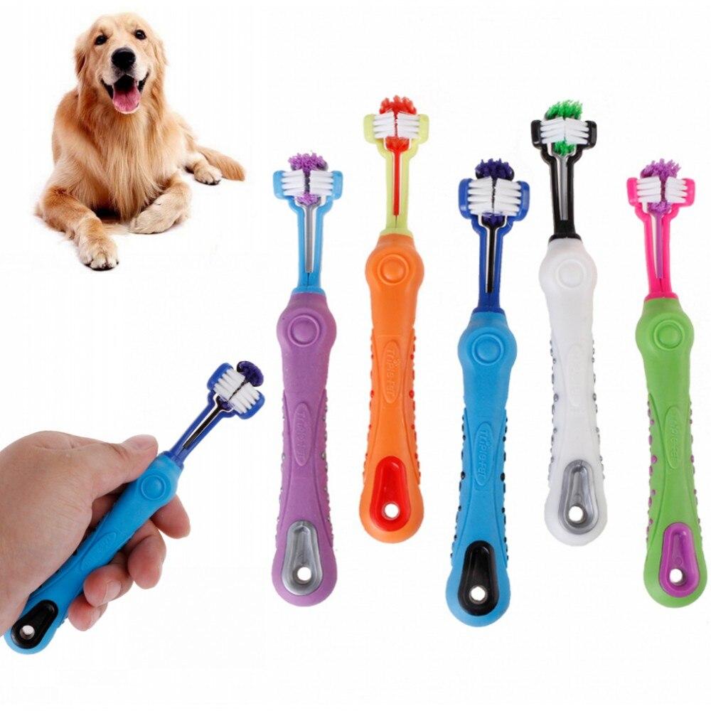 Nuevo cepillo de dientes de tres lados para mascotas, cepillo para perros, además de mal aliento, cuidado de los dientes del sarro, limpieza de perros y gatos, suministros para limpieza de mascotas
