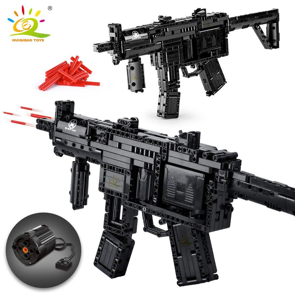 HUIQIBAO 783 + قطعة MP5 نموذج فني إشارة بندقية اللبنات مجموعة لتقوم بها بنفسك لعبة اطلاق النار الكهربائية الطوب مدينة لعب للأطفال