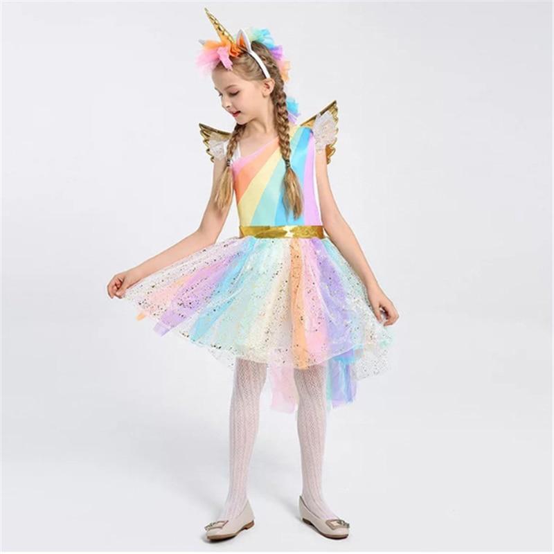 Halloween Girls Unicorn Costume Rainbow Pony Birthday Tutu Outfits Sparkle Tulle Fancy Dress Up Party Dress With Headband Wings