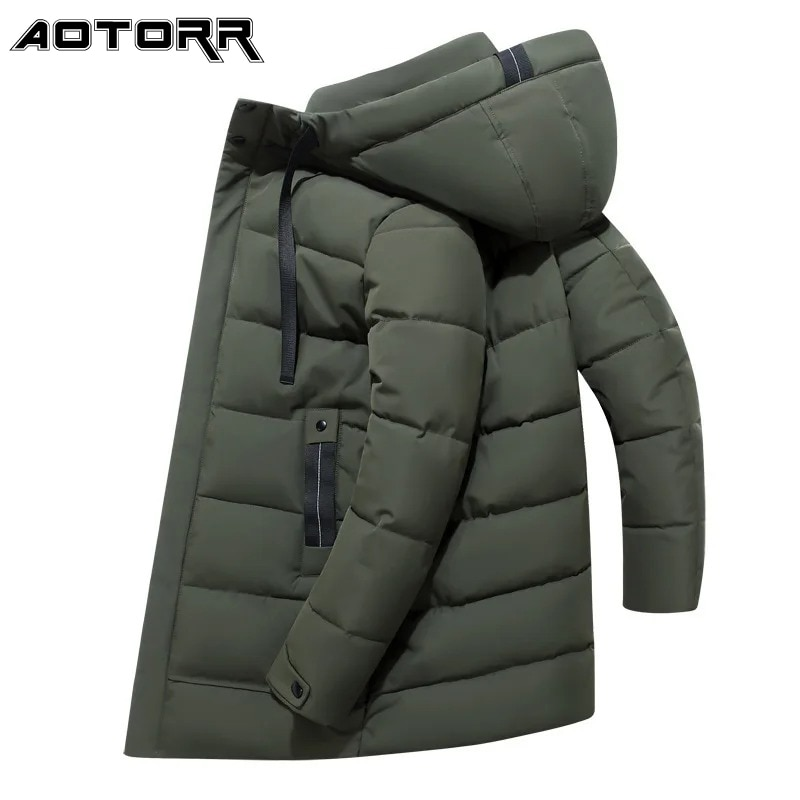 Winter Men Jacket Casual Hooded Thick Parka 2021 Fashion Mid Length Warm Jackets Mens Windproof Ther