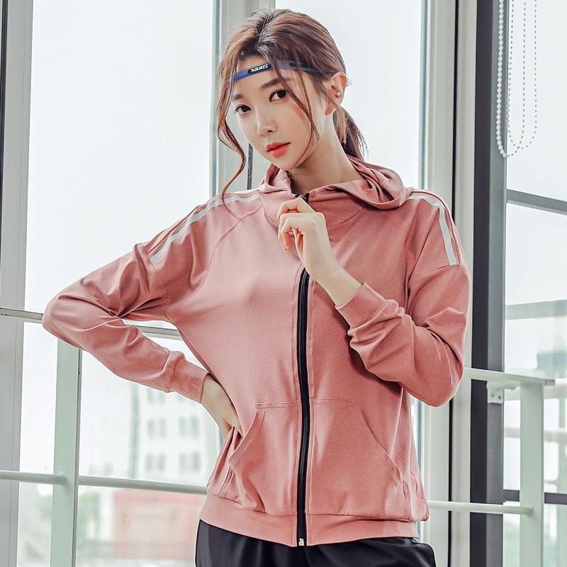 Women Sport Jacket Quickly Dry Long Sleeve Zip Up Hoodie Sweatshirt Female Running Jogger Fitness Gym Casual Jacket Activewear