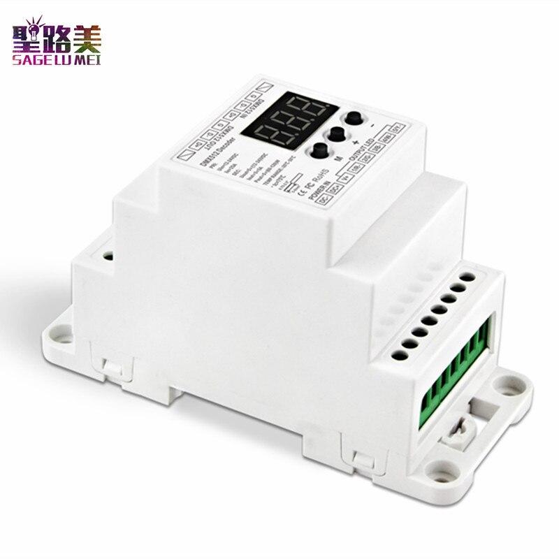 BC-835-DIN DC12-24V 5A * 5CH 5CH PWM tensión constante LED DMX512 decodificador 5 canales controlador de luz de led de tira de la lámpara