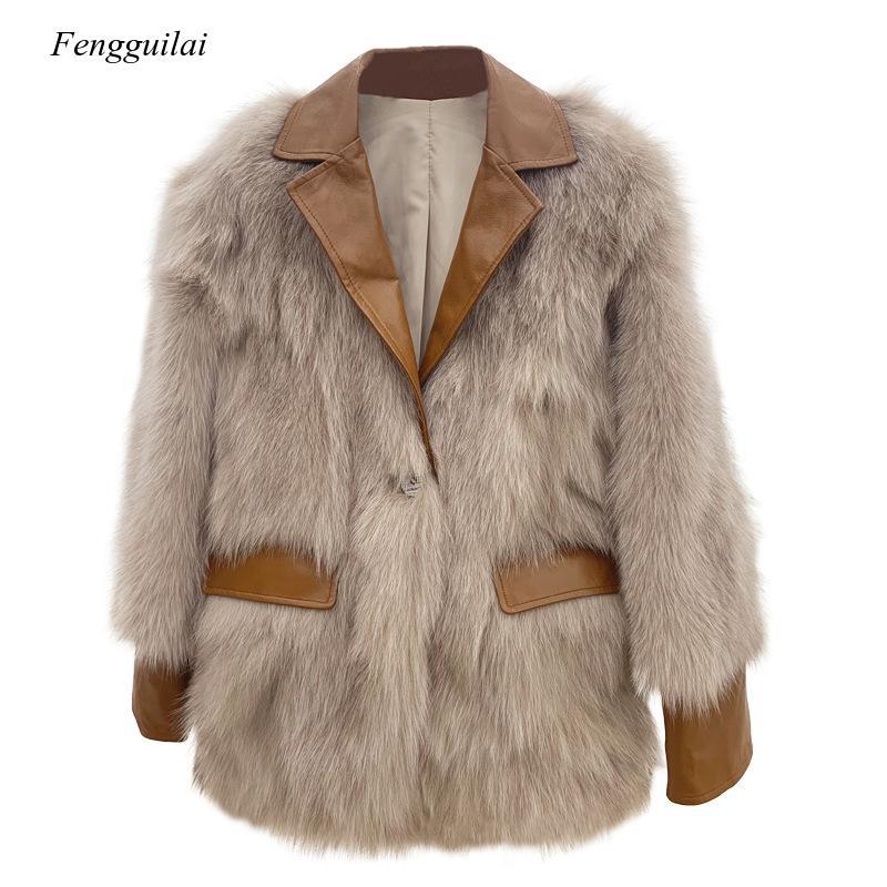 Женское Свободное пальто из искусственной кожи на искусственном меху, зима 2020