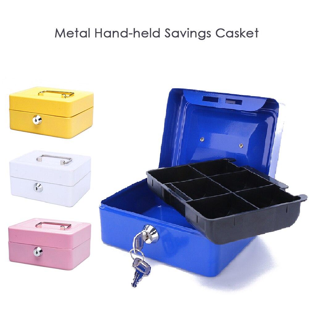 ¡Producto en oferta 2019! Organizador de oficina de Material de acero inoxidable resistente y excelente, caja pequeña con bloqueo de depósito, llave de seguridad