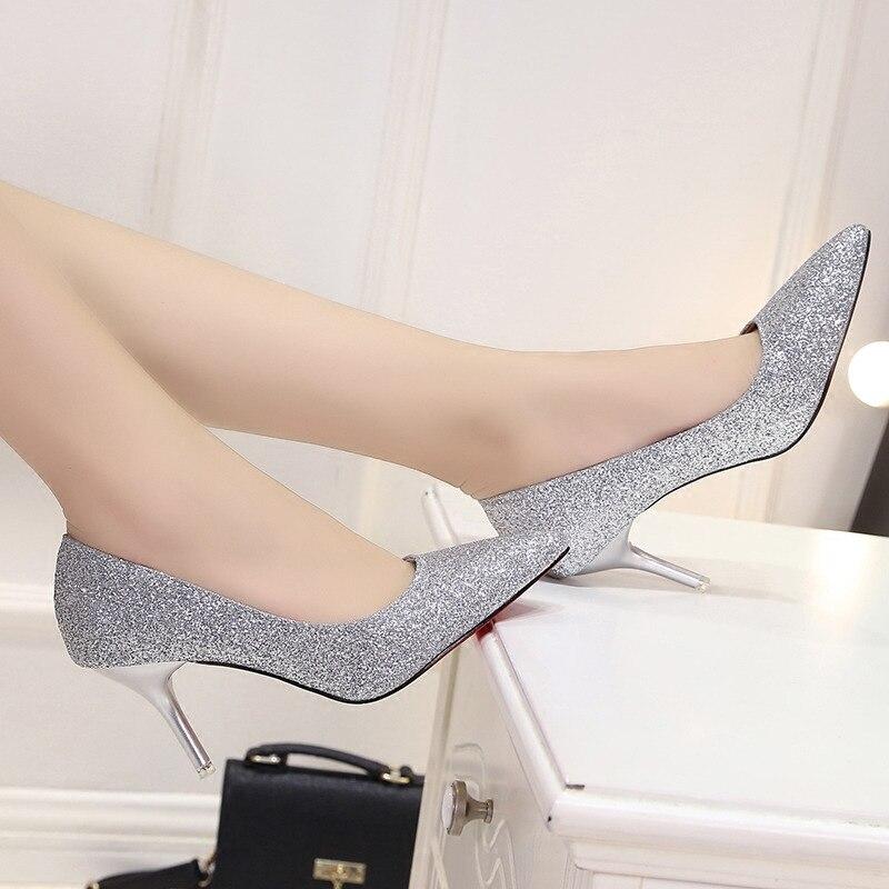 2020 mujeres bombas nuevos zapatos de mujer solo moda coreana oro puntiagudos tacones altos Sexy banquete novia boda zapatos