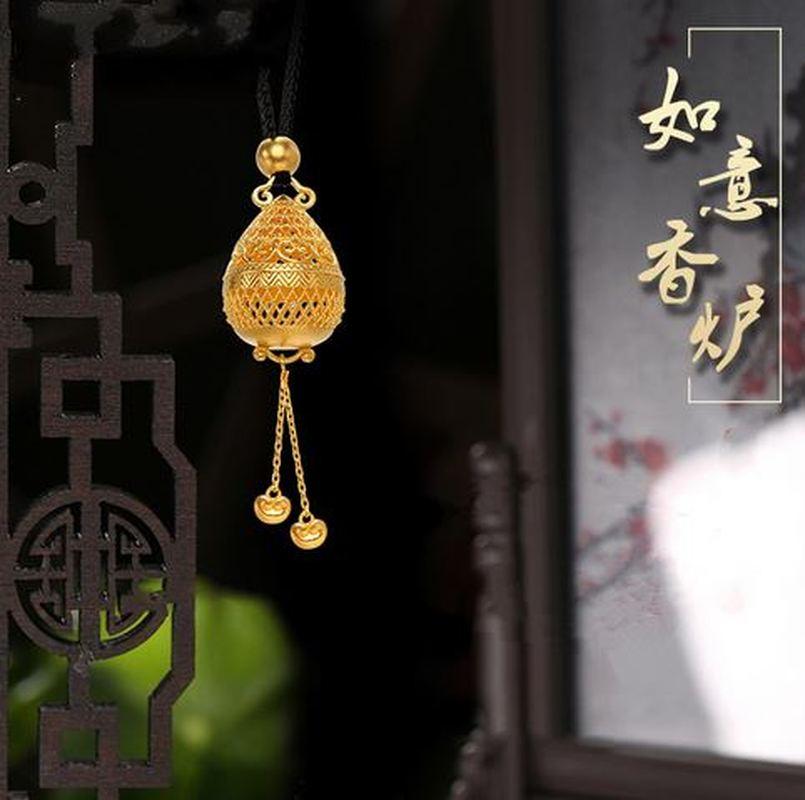 Ruyi Incense Burner Inheritance Ancient Gold Bracelet New Gold Plated Hollow Pendant Fashion Women Necklace Women Jewelry