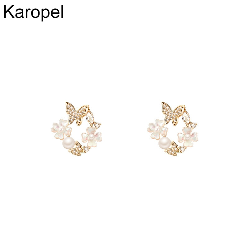 Romantic Exquisite Pearl Flowers Butterfly Stud Earrings for Women Top Designer Simple Sweet Elegant Luxury Jewelry Quality S925