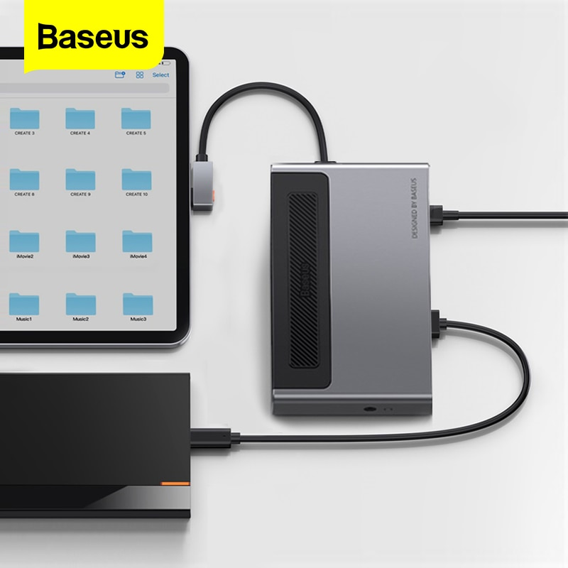 قارئ بطاقات USB من Baseus نوع C HUB to TF/SD مهايئ 4KHD PD 100 وات USBC To USB 3.0 محور فاصل لأجهزة iPad Macbook Pro Dock Station