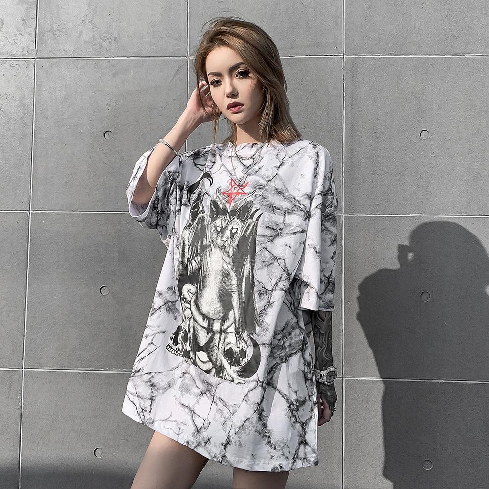 Черная кошка Satanic 2020 модная женская одежда в стиле панк-рок готический большой размер футболки женская футболка сатана Топы уличная одежда