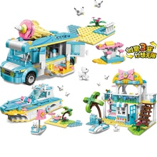 ENLIGHTEN 3 in1 Creator Girls Princess dream House Car Dog figures Boat Technic fighting Building Blocks Sets Kids Kits