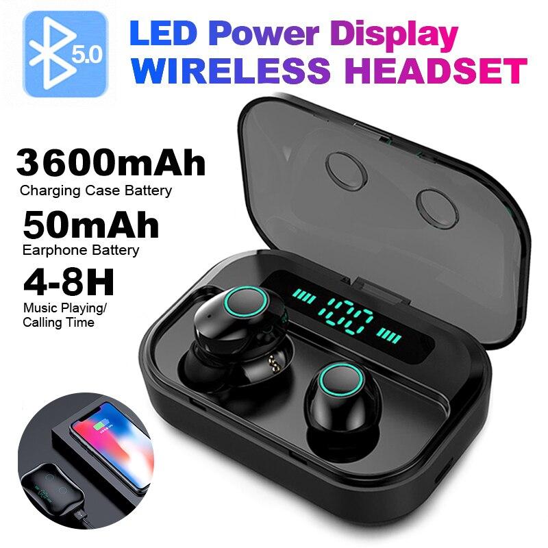 FBYEG M7 TWS Bluetooth 5,0 наушники беспроводные наушники с дисплеем питания спортивные стерео беспроводные наушники гарнитура с зарядной коробкой