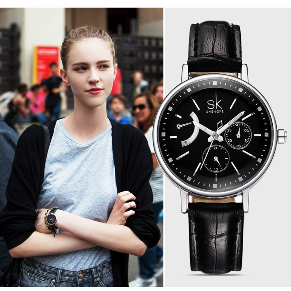 Pulseira de Couro Multifuncional à Prova Moda Lazer Senhoras Relógio Dmultifunctional Água Quartzo Estilo Simples Relógiofeminino 2021